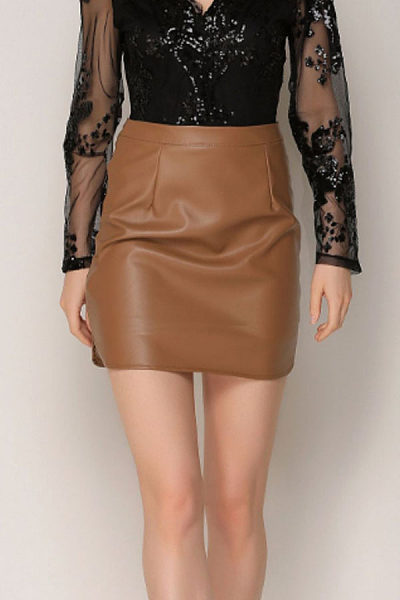 Zipper  Plain Sexy Skirts
