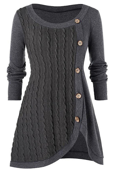 Women's casual long-sleeved button-decorated solid color irregular sweater