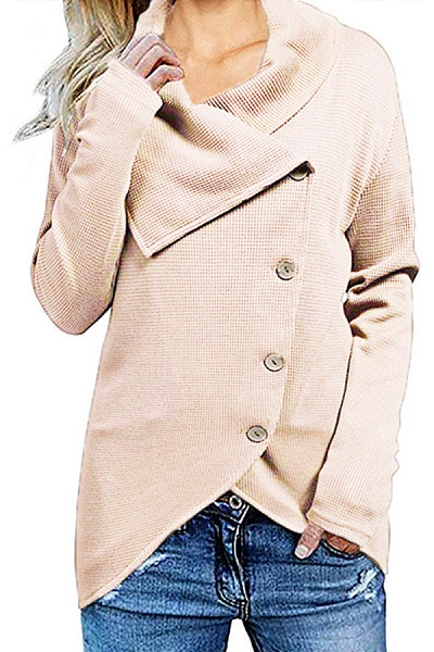 Casual Irregular Lapel Button Sweater
