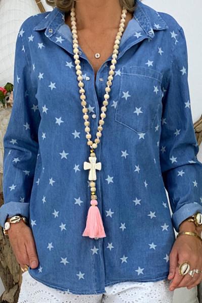 Star print denim long sleeve shirt