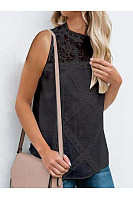 Casual Lace Patchwork Sleeveless T-Shirt