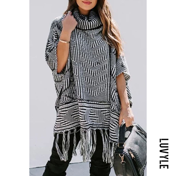 Casual high collar black and white check long sleeve tassel shawl