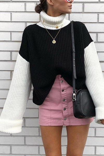High Collar Color Block Sweater