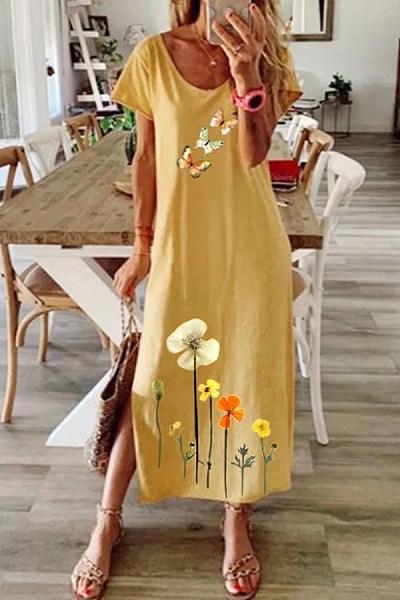 Casual Printed Short Sleeve Dress