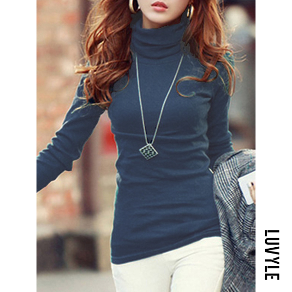 Blue Basic Turtleneck Plain Long Sleeve T-Shirt Blue Basic Turtleneck Plain Long Sleeve T-Shirt