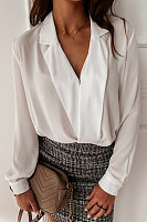 Simple solid color long-sleeved V-neck Blouse