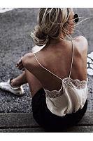 Spaghetti Straps Lace Patchwork Elegant Camis