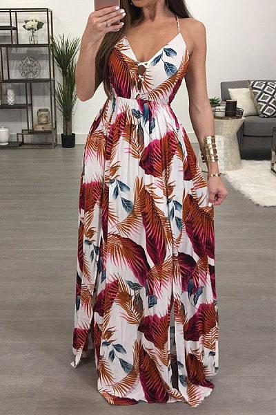 Spaghetti Strap  Backless Side Slit  Printed Maxi Dresses