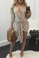 Turn Down Collar  Single Breasted  Belt Loops  Plain Casual Dresses