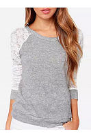 Round Neck  Decorative Lace  Back Hole  Plain  Long Sleeve Long Sleeve T-Shirts