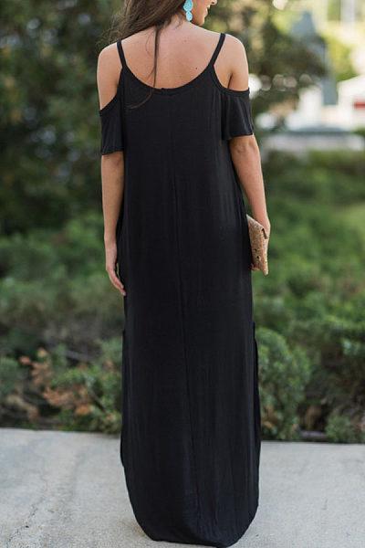 Spaghetti Strap  Slit  Plain  Short Sleeve Maxi Dresses