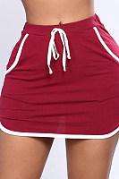 Drawstring  Plain  Casual Skirts