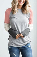 Round Neck  Color Block Patchwork T-Shirts