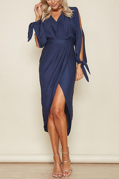 Fashion Long Sleeves V Neck Maxi Dress