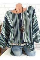 Autumn Spring  Cotton  Women  Round Neck  Striped  Long Sleeve Blouses