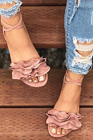 Plain  Flat  Velvet  Ankle Strap  Peep Toe  Casual Outdoor Flat Sandals