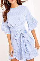 Asymmetric Hem Bowknot Flounce  Belt  Striped Casual Dresses