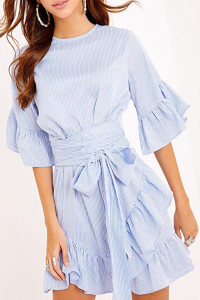 Asymmetric Hem Bowknot Flounce  Belt  Striped Casual Dresses