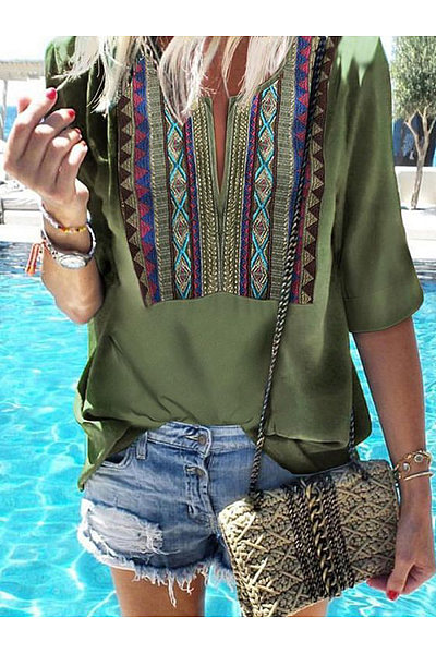 Casual Loose Print Mid-Sleeve Five-Minute Sleeve T-Shirt