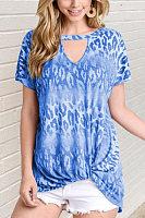 Hollow Out Leopard Short Sleeve T-shirt
