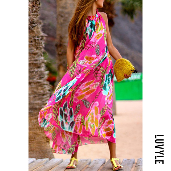 Same As Photo Bohemia Halter Neck Floral Print Vacation Maxi Dress