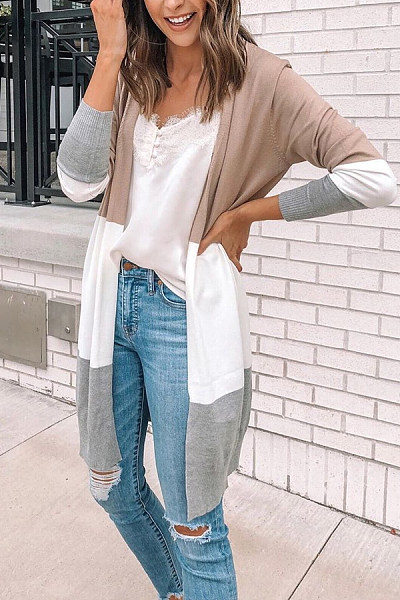 Casual Contrast Color Long Sleeve Cardigans