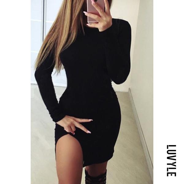 Black Round Neck Asymmetric Hem Plain Long Sleeve Bodycon Dresses Black Round Neck Asymmetric Hem Plain Long Sleeve Bodycon Dresses