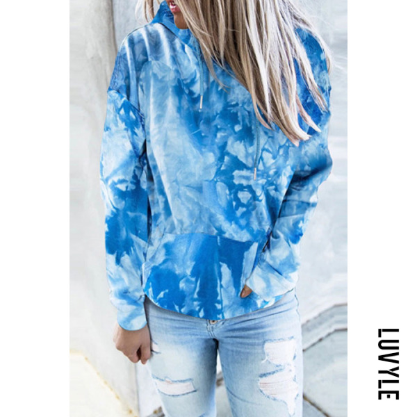 Blue 2020 Women Tie-dye Casual Hoodie Blue 2020 Women Tie-dye Casual Hoodie