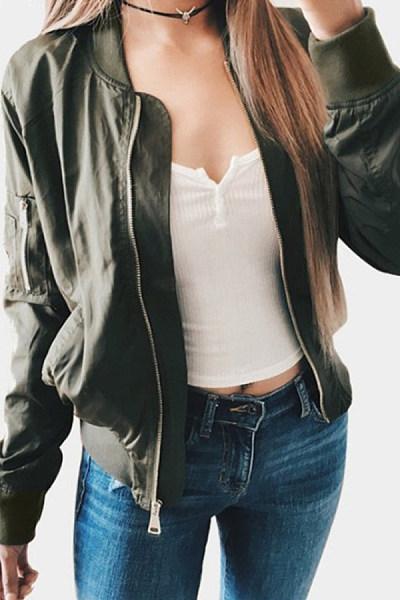 Band Collar  Zipper  Plain Jackets