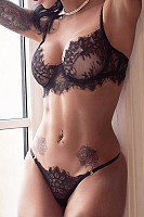 Spaghetti Strap  Decorative Lace  Plain Brief Sets