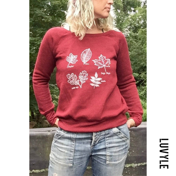 Casual Plant Prited Round Neck Sweatshirt RY45 - from $28.00