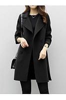 Lapel Double Breasted Plain Woolen Coat