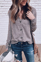 V Neck  Regular  Brief  Plain  Long Sleeve Sweaters