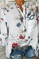 V Neck Cotton Button Floral Printed Blouse