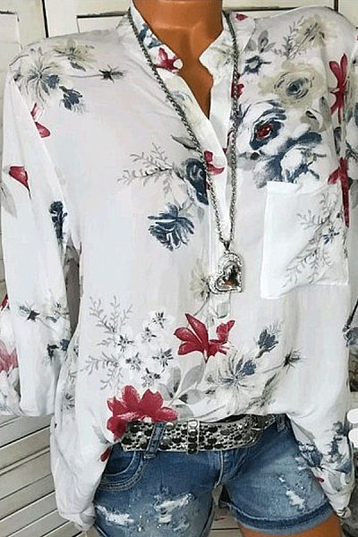 Autumn Spring Summer Cotton V-Neck Button Floral Printed Blouses