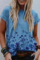 Floral Round Neck Casual T-shirt