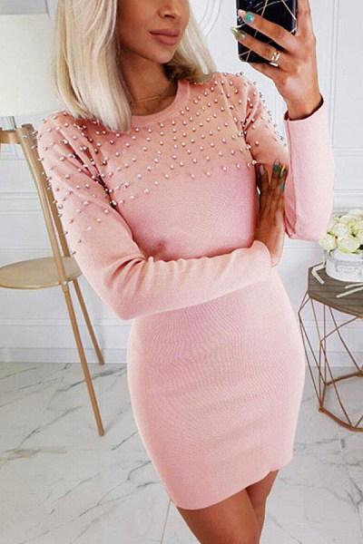 Ladies Fashion Round Neck Pearl Slim Dress