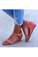 Plain  Low Heeled  Velvet  Peep Toe  Casual Date Wedge Sandal