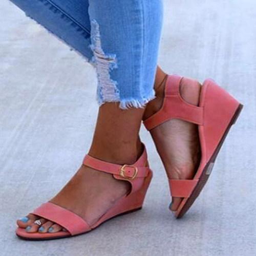 Plain  Low Heeled  Velvet  Peep Toe  Casual Date Wedge Sandal