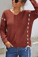 Crochet  Plain  Long Sleeve Sweaters