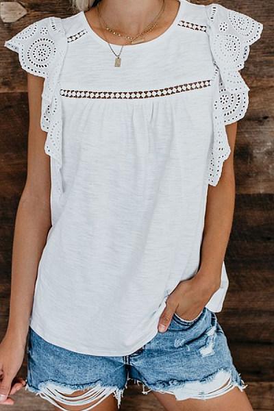Round Neck  Decorative Lace Patchwork  Plain T-Shirts