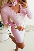 V Neck  Beading  Plain  Long Sleeve Bodycon Dresses