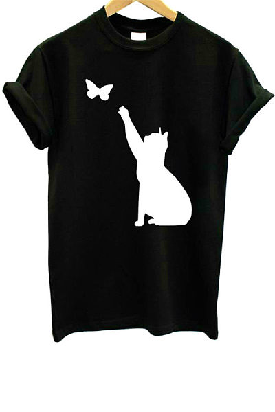 Casual Round Neck Short Sleeve Cat T-shirt