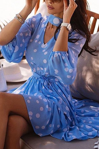 Sweet V-Neck Polka Dot Print Long Sleeve Lace Dress