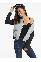 Pockets Band Collar Color Block Bomber Jacket