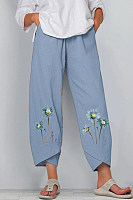Fashion Daisy Print Elastic Waist Pocket Pants