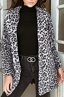 Fold Over Collar  Leopard Printed Outerwear
