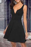 Spaghetti Strap  Plain  Sleeveless Skater Dresses
