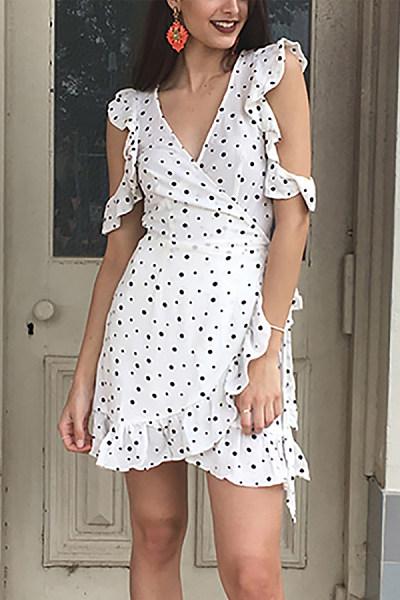 Ruffled V-Neck Lace Dress