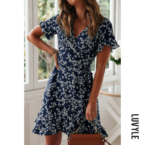 Navy Blue V Neck Floral Printed Short Sleeve Casual Dresses Navy Blue V Neck Floral Printed Short Sleeve Casual Dresses